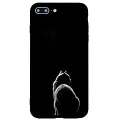 Недорогие Кейсы для iPhone 5-Кейс для Назначение Apple iPhone 7 Plus iPhone 7 Матовое С узором Кейс на заднюю панель Кот Мультипликация Животное Твердый Акрил для