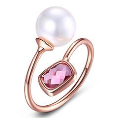 preiswerte Ringe-Damen Kristall Stulpring - Krystall, Künstliche Perle Modisch Verstellbar Blau / Lichtdurchlässig / Leicht Rosa Für Party / Verlobung / Alltag