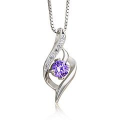 Damskie Naszyjniki z wisiorkami Cyrkonia Geometric Shape Srebro standardowe Cyrkon Modny Klasyczny Biżuteria Na Ślub