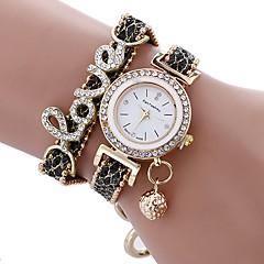 preiswerte Damenuhren-Damen Quartz Armband-Uhr Chinesisch Wasserdicht / Kreativ Leder / PU Band Charme / Glanz / Freizeit / Uhr mit Wörtern / Elegant / Modisch