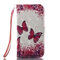 Недорогие Кейсы для iPhone 7 Plus-Кейс для Назначение Apple iPhone 7 Plus iPhone 7 Бумажник для карт Кошелек Флип Магнитный С узором Чехол Бабочка Твердый Кожа PU для