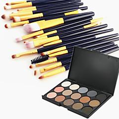 15 kleuren oogschaduw wenkbrauw poeder cosmetische palet & 20 oogschaduw wenkbrauw make-up borstel set