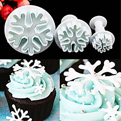 3PCS/Set Snowflake Fondant Cake Decorating Plunger Sugar Craft Cutter Mold Tools