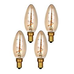 preiswerte LED-Birnen-ONDENN 4pcs 3W 300lm E14 LED Glühlampen C35 1 LED-Perlen COB Abblendbar Warmes Weiß 220-240V