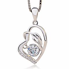 preiswerte Halsketten-Damen Kubikzirkonia Anhängerketten - Sterling Silber, Zirkon Herz, Liebe Modisch Silber Modische Halsketten Für Geschenk, Zeremonie