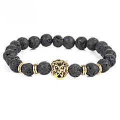 cheap Bracelets-Men's Women's Onyx Bohemian Lion Charm Bracelet Strand Bracelet - Personalized Vintage Bohemian Circle Gold Silver Bracelet For Party