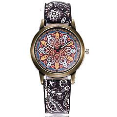 preiswerte Damenuhren-Damen Armbanduhr Armbanduhren für den Alltag Echtes Leder Band Modisch / Elegant Schwarz / Blau / Rot
