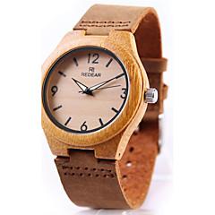 preiswerte Herrenuhren-Herrn Damen Sportuhr Armband-Uhr Uhr Holz Japanisch Quartz Chronograph Cool Punk Echtes Leder Band Analog Luxus Retro Freizeit Braun - Braun