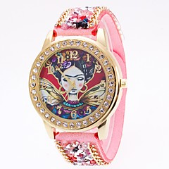 Women's Simulated Diamond Watch Unique Creative Watch Chinese Quartz Leather Band Unique Creative Cool Black White Blue Red