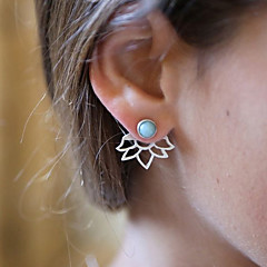 Women's Front Back Earrings Fashion Vintage Resin Alloy Flower Jewelry For Daily
