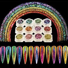 12 stücke nagel kunst holographische unregelmäßige glitter flocke pulver pfau glänzende spiegel effekt laser staub blendende pigment nagel