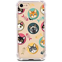 Кейс для Назначение Apple iPhone X iPhone 8 iPhone 8 Plus Ультратонкий Прозрачный С узором Задняя крышка Кот Мягкий TPU для iPhone X