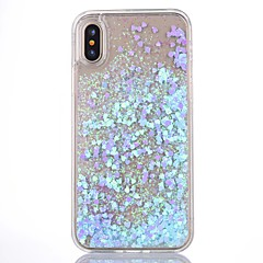 billige iPhone-etuier-Til iPhone X iPhone 8 iPhone 8 Plus iPhone 5 etui Etuier Flydende væske Transparent Bagcover Etui Glitterskin Hårdt PC for iPhone X