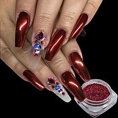 0,15g / kpl joulunpunainen kynsien glitter jauhe loistava peili vaikutus nail art