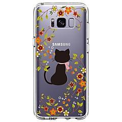 olcso Galaxy S4 Mini tokok-Case Kompatibilitás Samsung Galaxy S8 Plus S8 Ultra-vékeny Átlátszó Minta Fekete tok Cica Virág Puha TPU mert S8 Plus S8 S7 edge S7 S6