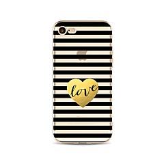 Недорогие Кейсы для iPhone 5-Кейс для Назначение Apple iPhone X iPhone 8 Прозрачный С узором Кейс на заднюю панель Полосы / волосы С сердцем Мягкий ТПУ для iPhone X
