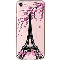 billige Etuier til iPhone 7 Plus-Etui Til iPhone X iPhone 8 Ultratyndt Transparent Mønster Bagcover Eiffeltårnet Blomst Blødt TPU for iPhone X iPhone 8 Plus iPhone 8