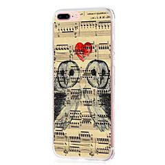 Кейс для Назначение Apple iPhone X iPhone 8 iPhone 8 Plus Ультратонкий Прозрачный С узором Задняя крышка С сердцем Мультипликация Сова
