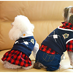 お買い得  犬用ウェア&アクセサリー-犬 ジャンプスーツ ドレス 犬用ウェア ブリティッシュ ブラック レッド 立ち毛メリヤス生地 コスチューム ペット用 カジュアル/普段着