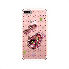 Недорогие Кейсы для iPhone-Кейс для Назначение iPhone X iPhone 8 Прозрачный С узором Задняя крышка С сердцем Мягкий TPU для iPhone X iPhone 8 Plus iPhone 8 iPhone 7