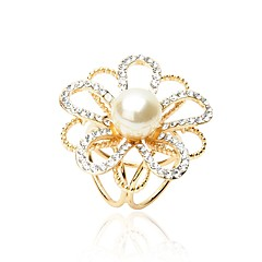 Kadın's Eşarp tokası İmitasyon İnci Yapay Elmas Moda Zarif İmitasyon İnci alaşım Flower Shape Mücevher Uyumluluk Günlük