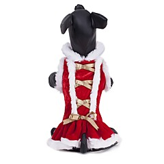 Cat Dog Coat Dress Dog Clothes Party Casual/Daily Cosplay Keep Warm Sports Wedding Christmas New Year's Solid Red