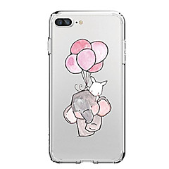 voordelige iPhone 6 hoesjes-hoesje Voor Apple iPhone X iPhone 8 iPhone 8 Plus Ultradun Transparant Patroon Achterkantje Cartoon Balloon Olifant Zacht TPU voor iPhone