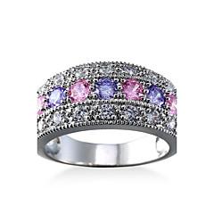 preiswerte Ringe-Herrn Damen Verlobungsring Knöchel-Ring Kubikzirkonia Luxus Klassisch Elegant Modisch Zirkon Kupfer Geometrische Form Schmuck Hochzeit