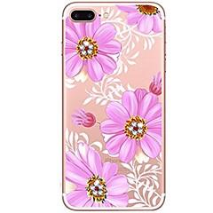 Кейс для Назначение iPhone X iPhone 8 Стразы Ультратонкий Прозрачный С узором Задняя крышка Цветы Мягкий TPU для iPhone X iPhone 8 Plus