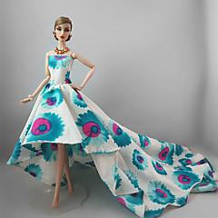 パーティー/イブニング ドレス ために バービー人形 青/ホワイト ドレス ために 女の子の 人形玩具