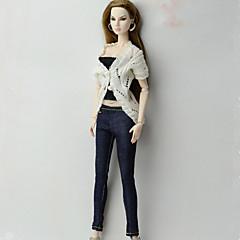 Estilo Clássico Blusa Calções , Calças e Leggings Para Boneca Barbie Branco/preto Casaco Calças Corpete Para Menina de Boneca de Brinquedo