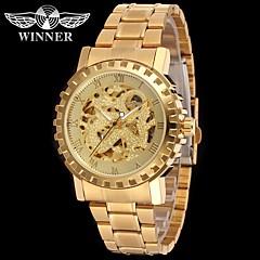お買い得  メンズ腕時計-WINNER 男性用 リストウォッチ 機械式時計 自動巻き 30 m 透かし加工 クール ステンレス バンド ハンズ ぜいたく ヴィンテージ カジュアル シルバー / ゴールド - ゴールド シルバー