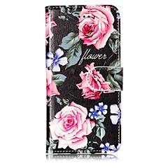 Кейс для Назначение Apple iPhone X iPhone 8 Кошелек Бумажник для карт со стендом Чехол Цветы Твердый Искусственная кожа для iPhone X