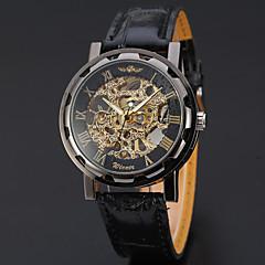 お買い得  メンズ腕時計-WINNER 男性用 リストウォッチ 機械式時計 自動巻き 30 m 透かし加工 レザー バンド ハンズ ぜいたく カジュアル ブラック - ブラック / シルバー ホワイト / シルバー ゴールド / シルバー / ブラック