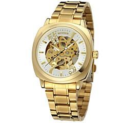 voordelige Herenhorloges-WINNER Heren Dames Dress horloge Polshorloge mechanische horloges Automatisch opwindmechanisme Hol Gegraveerd Roestvrij staal Band Luxe