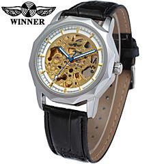 お買い得  メンズ腕時計-WINNER 男性用 リストウォッチ 機械式時計 自動巻き ブラック 30 m 透かし加工 クール ハンズ ぜいたく ヴィンテージ カジュアル - シルバー 黒とゴールド ゴールド / シルバー / ステンレス