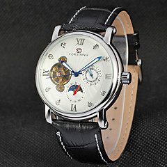 FORSINING Heren Modieus horloge Dress horloge Polshorloge Automatisch opwindmechanisme Kalender Maanfase Leer Band Vintage Zwart Bruin