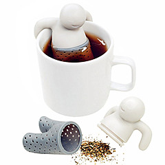 1pc søt mr.tea pose tepose silikon te blad silke infuser bag teapot filter drinkware liten mann form