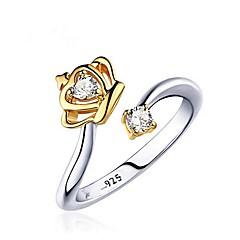 preiswerte Ringe-Damen Kubikzirkonia Eheringe - vergoldet Krone Modisch Verstellbar Gold / Weiß Für Geschenk