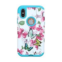 Недорогие Кейсы для iPhone-Кейс для Назначение Apple iPhone X iPhone X Защита от удара Чехол Бабочка Цветы Твердый ПК для iPhone X
