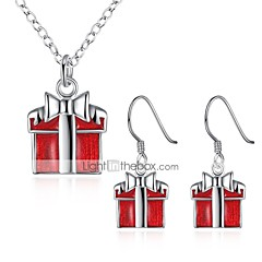 女性用 ジュエリーセット ギフト ファッション ジルコン 銅 銀メッキ 1×ネックレス イヤリング・ピアス 用途 クリスマス 新年 ウェディングギフト