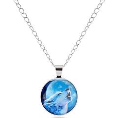 preiswerte Halsketten-Herrn / Damen Anhängerketten  -  Tier, Wolf Zeichentrick, Modisch Silber, Bronze Modische Halsketten 1 Für Schultaschen, Festtage