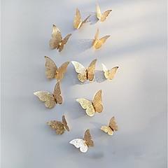 baratos -3d borboleta adesivos de parede autocolantes decorações ouro oco 12 pcs butterflie