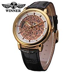 WINNER Męskie Do sukni/garnituru Zegarek na nadgarstek zegarek mechaniczny Mechaniczny, nakręcanie ręczne Hollow Grawerowanie Skóra Pasmo