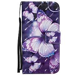 billige Etuier til iPhone 6-Etui Til Apple iPhone X iPhone 8 Plus Kortholder Lommebok med stativ Flipp Magnetisk Mønster Heldekkende etui Sommerfugl Hard PU Leather