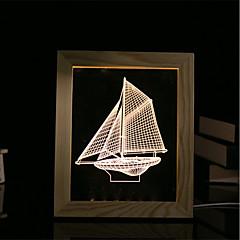 1 Set Of 3D Mood Night Light LED Lights USB Bedroom Photo Frame Lamp Gifts Sailboat