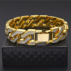Men's Cuff Bracelet Bracelet Rock Hiphop Gold Plated Alloy Round Jewelry For Casual Club