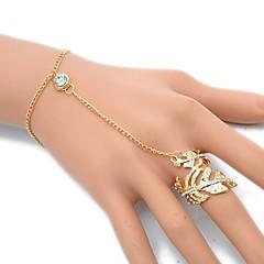 baratos Pulseiras-Mulheres Pulseiras Anéis - Formato de Folha Europeu, Rock Pulseiras Dourado / Prata Para Festa / Diário