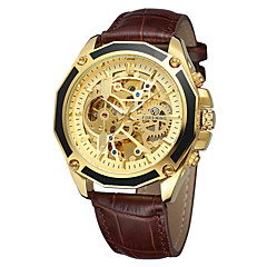 preiswerte Tolle Angebote auf Uhren-FORSINING Herrn Armbanduhren für den Alltag Modeuhr Armbanduhr Automatikaufzug 30 m Armbanduhren für den Alltag Cool Echtes Leder Band Analog Freizeit Schwarz / Braun - Schwarz / Silber Weiß / Gold