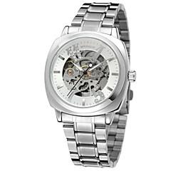 preiswerte Herrenuhren-WINNER Damen Armbanduhr / Mechanische Uhr Transparentes Ziffernblatt / Cool Edelstahl Band Luxus / Retro / Freizeit Silber / Gold / Automatikaufzug